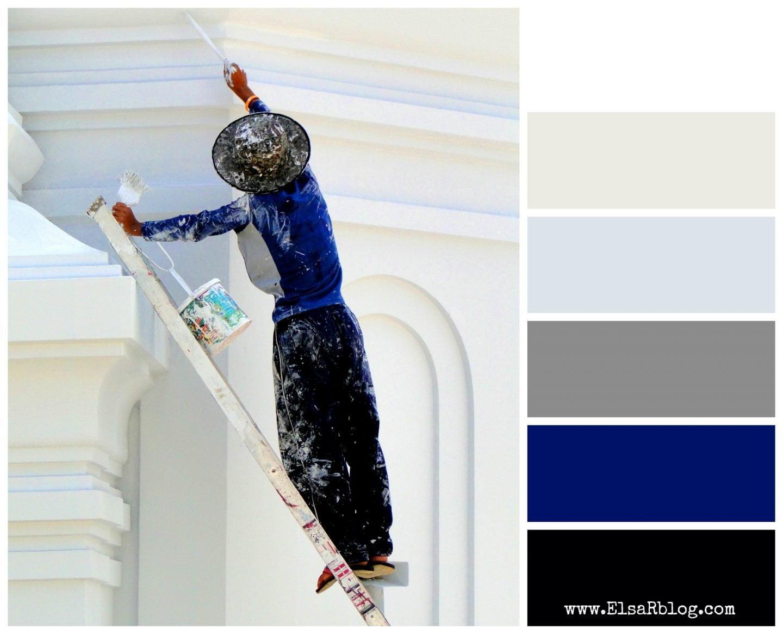 Kleurenpalet met donkerblauw, zwart, grijs en wit