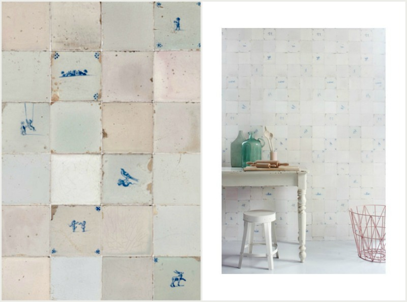 Studio Ditte Delfts Blauwe Tegeltjes Behang.