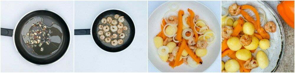 maaltijdsalade met verse paprika en garnalen-stap voor stap recept