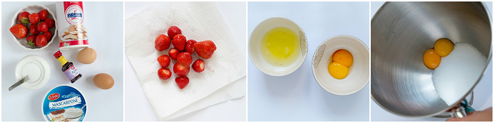 Crème van Mascarpone met aardbeien ,stap voor stap foto's.