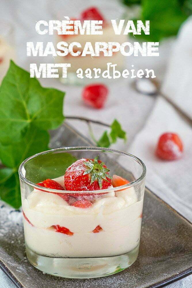 Crème van Mascarpone met aardbeien