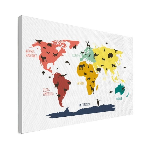 kinder wereldkaart op canvas