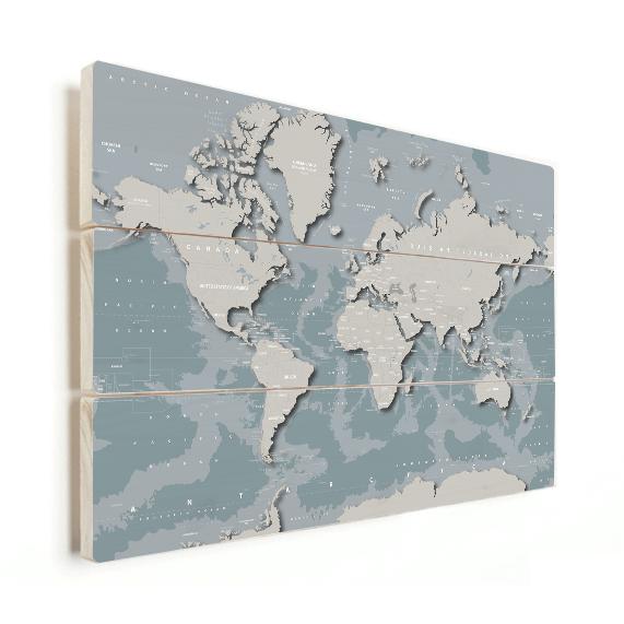 stoere wereldkaart op hout