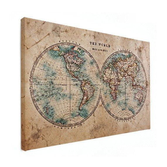 vintage wereldkaart op canvas
