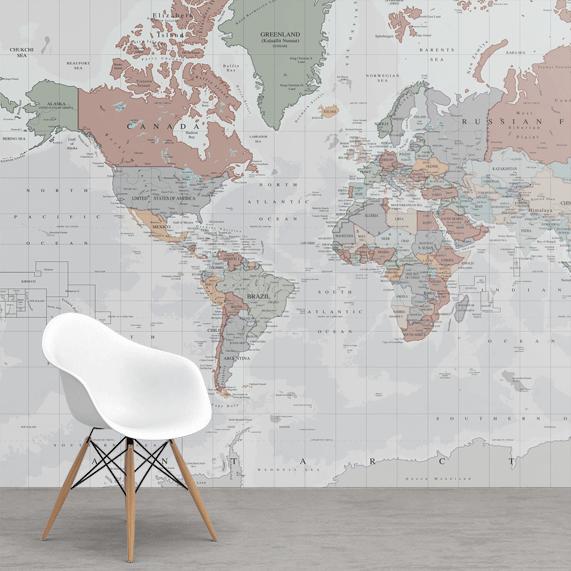 wereldkaart op behang
