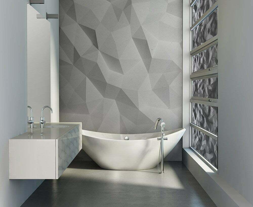 Fotobehang inspiratie voor badkamer, Abstracte witte driehoek 3D geometrisch papier achtergrond.