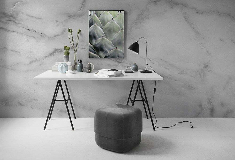 Fotobehang inspiratie voor kantoor, Wit marmer.