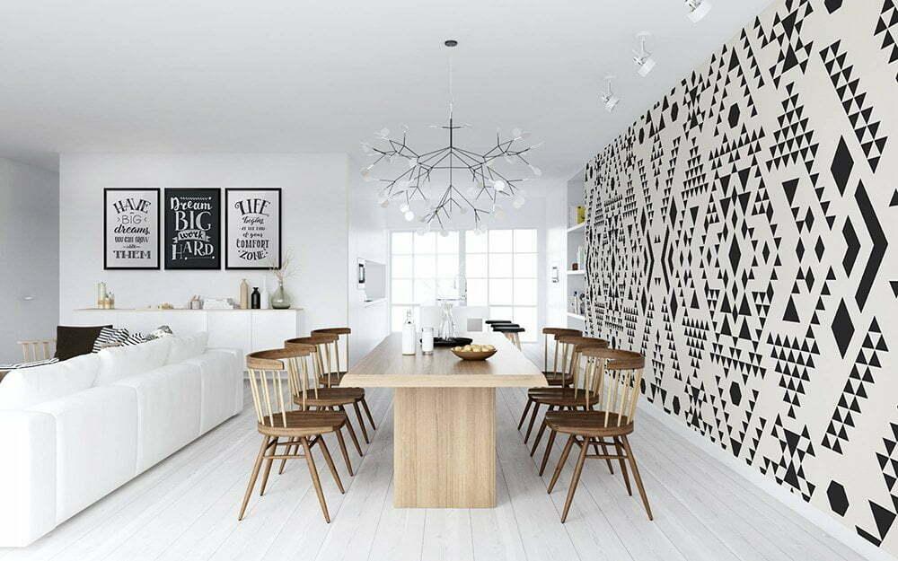 Fotobehang inspiratie voor de eetkamer,Etnisch patroon design.