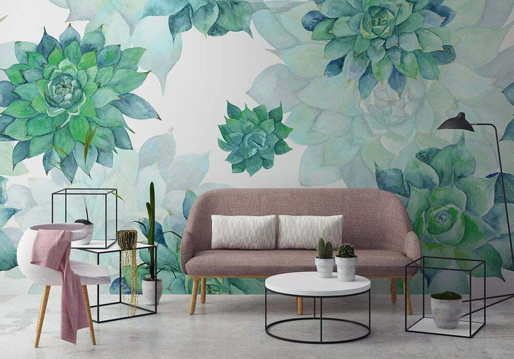 Watercolor turquoise succulent patroon, Fotobehang inspiratie voor de woonkamer.