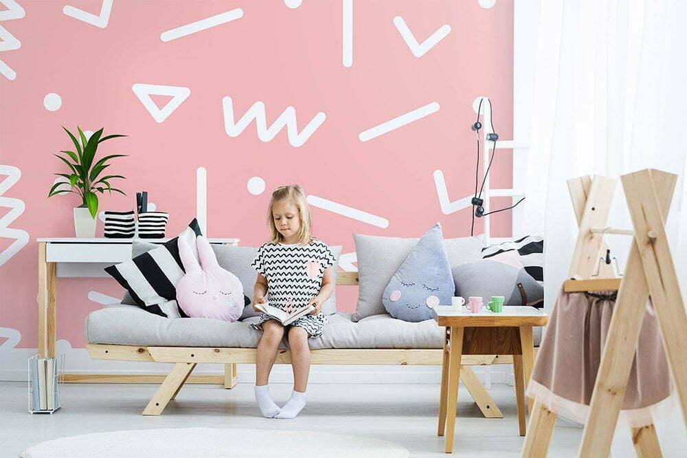 Naadloze geometrisch patroon, Fotobehang inspiratie voor de kinderkamer.