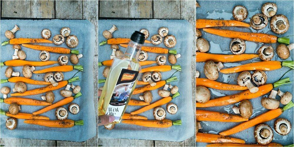 Maak de kastanje champignons schoon met veel water en leg ze tussen de bospeen.