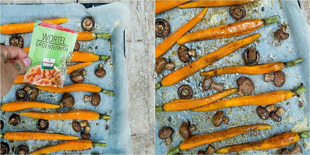 Als ze klaar zijn en uit de oven strooi dewortel groentefinish bovenop alle groenten.
