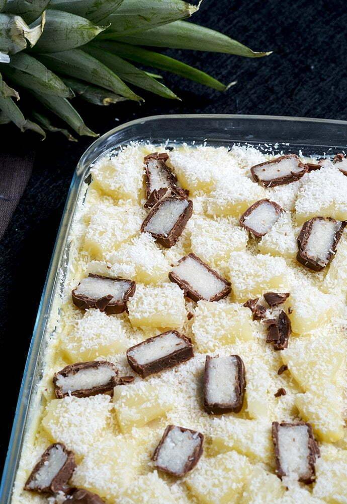 Kokos ananas dessert met Bounty