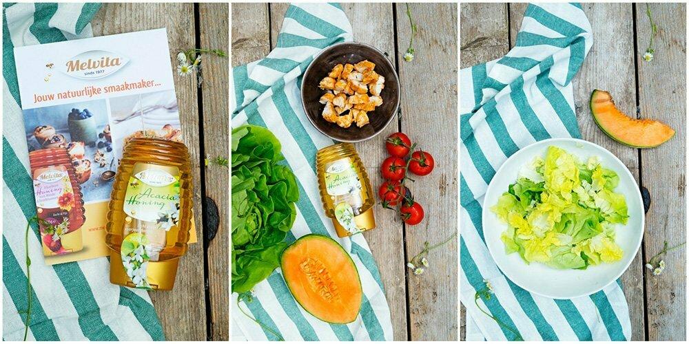 Aan de slag:maaltijdsalade met kip,meloen en honing