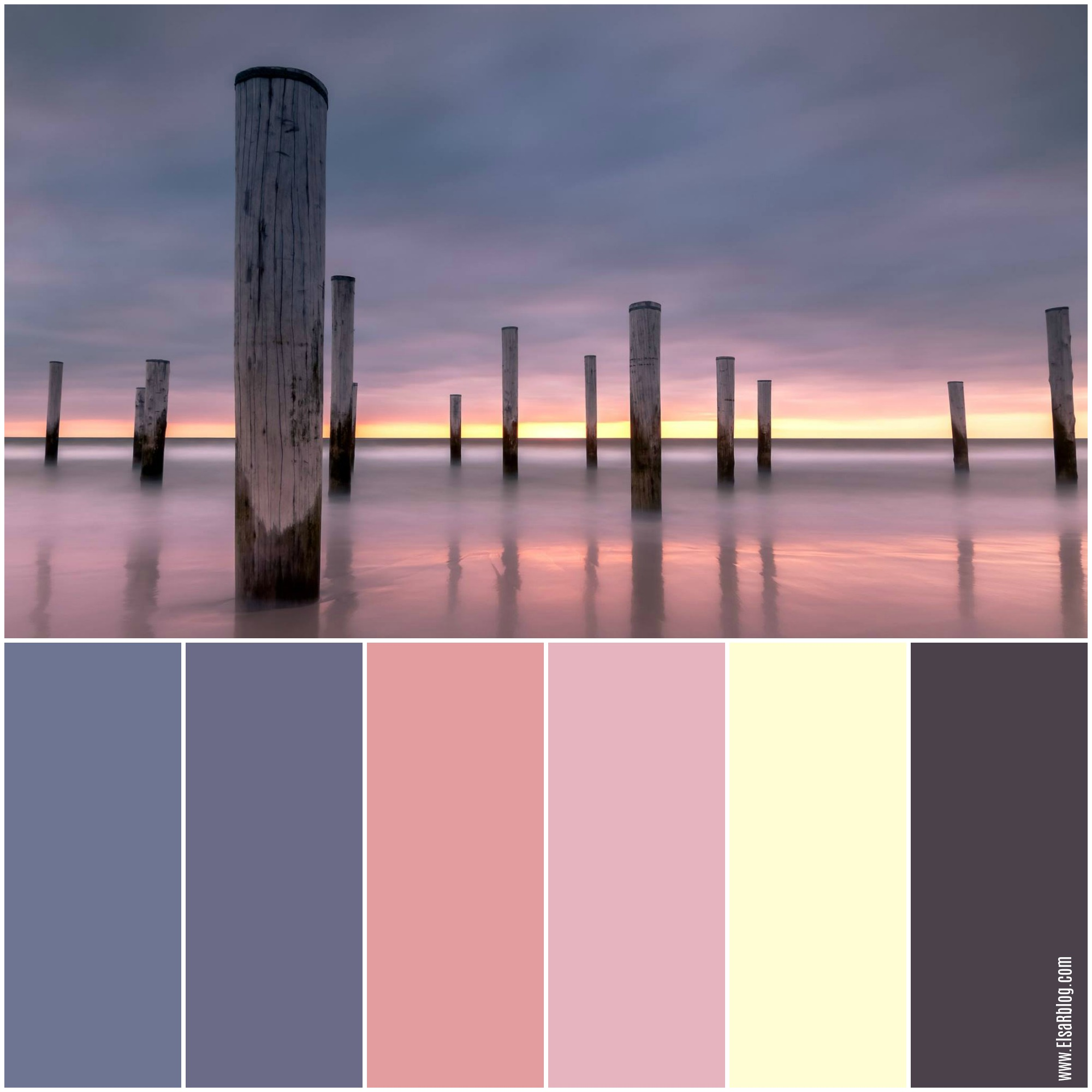 kleurenpalet met vintage blauw, warm beige, oud roze en donker bruin
