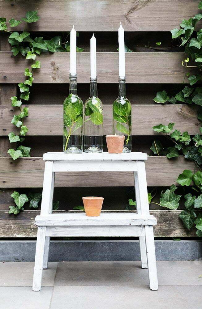 Diy: lege wijnfles als kandelaar