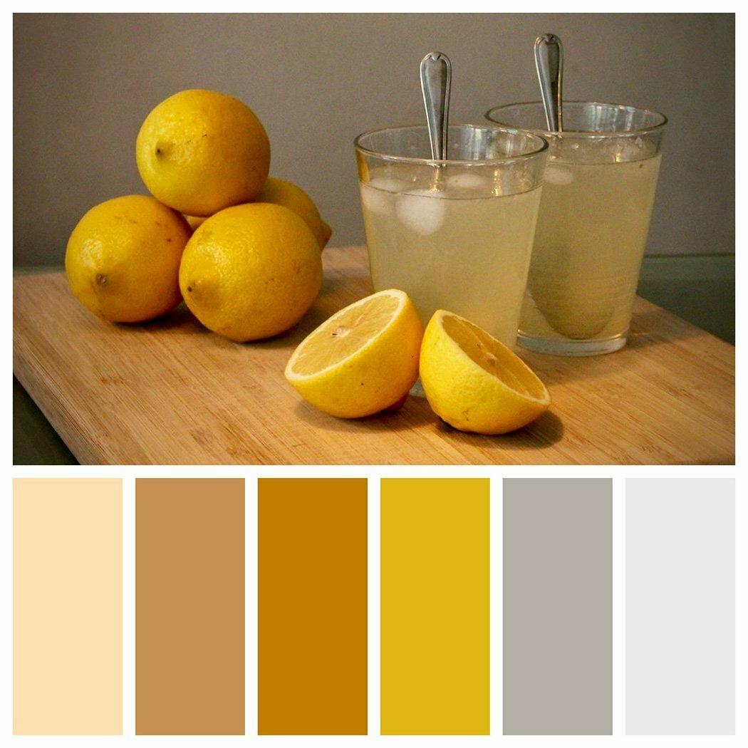 kleurenpalet met okergeel, grijs en bruin