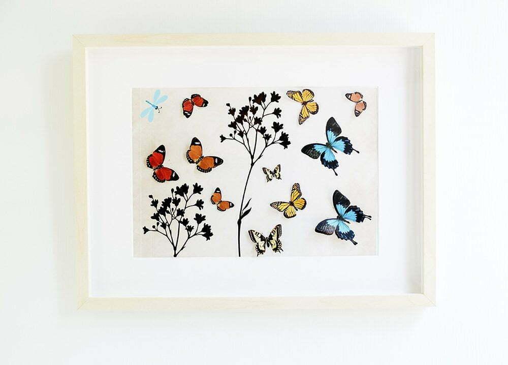 Diy: Ikea fotolijst Hovsta met vlinders - Free printable