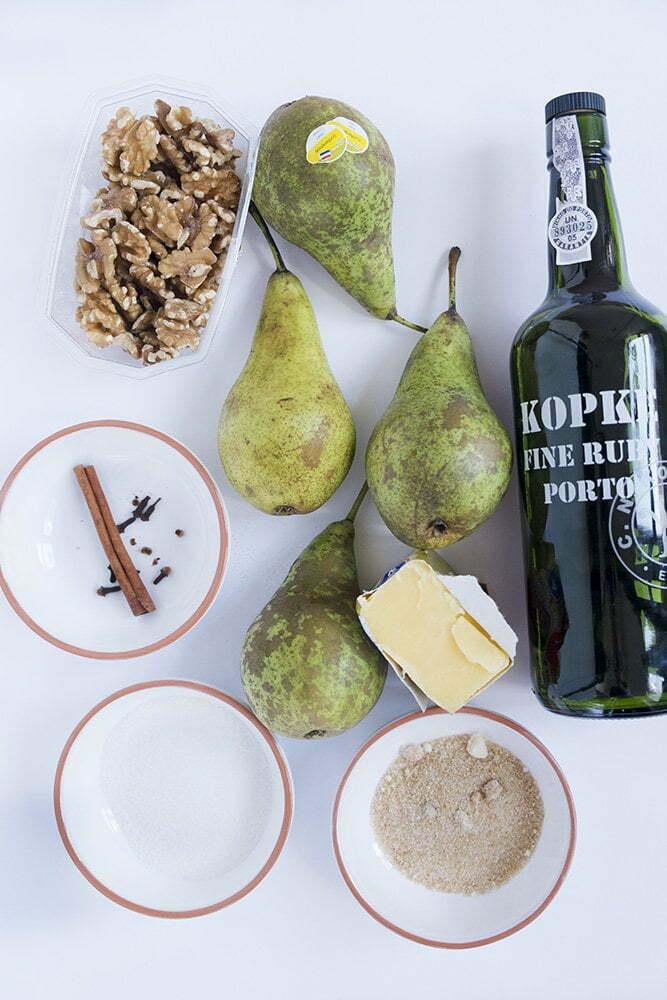 Stoofpeertjes met Port en walnoten : alle ingrediënten