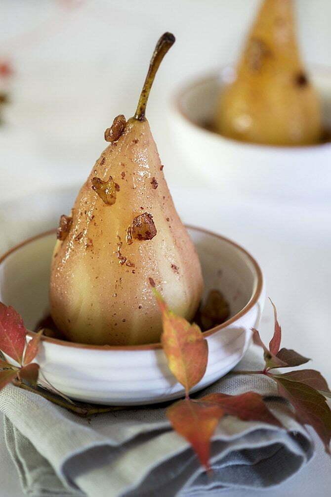 Dessert: Stoofpeertjes met Port en walnoten