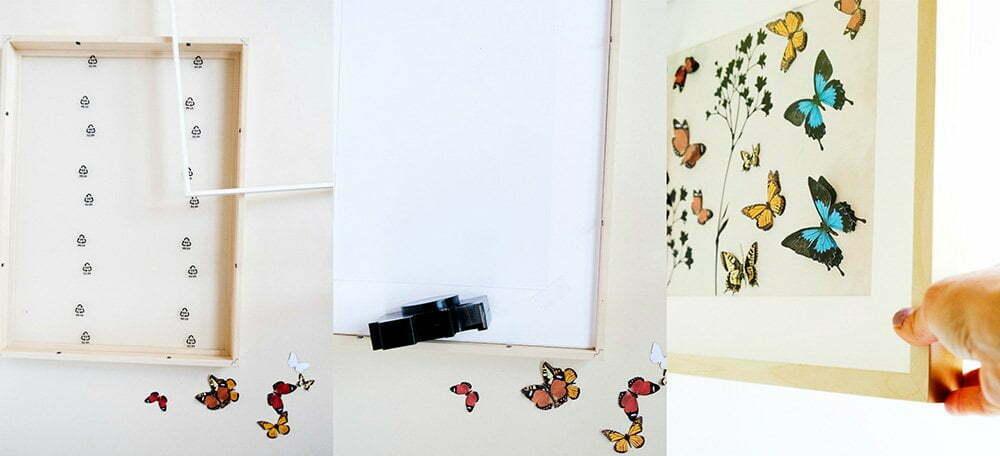 stap voor stap foto's, Diy: Ikea fotolijst Hovsta met vlinders - Free printable