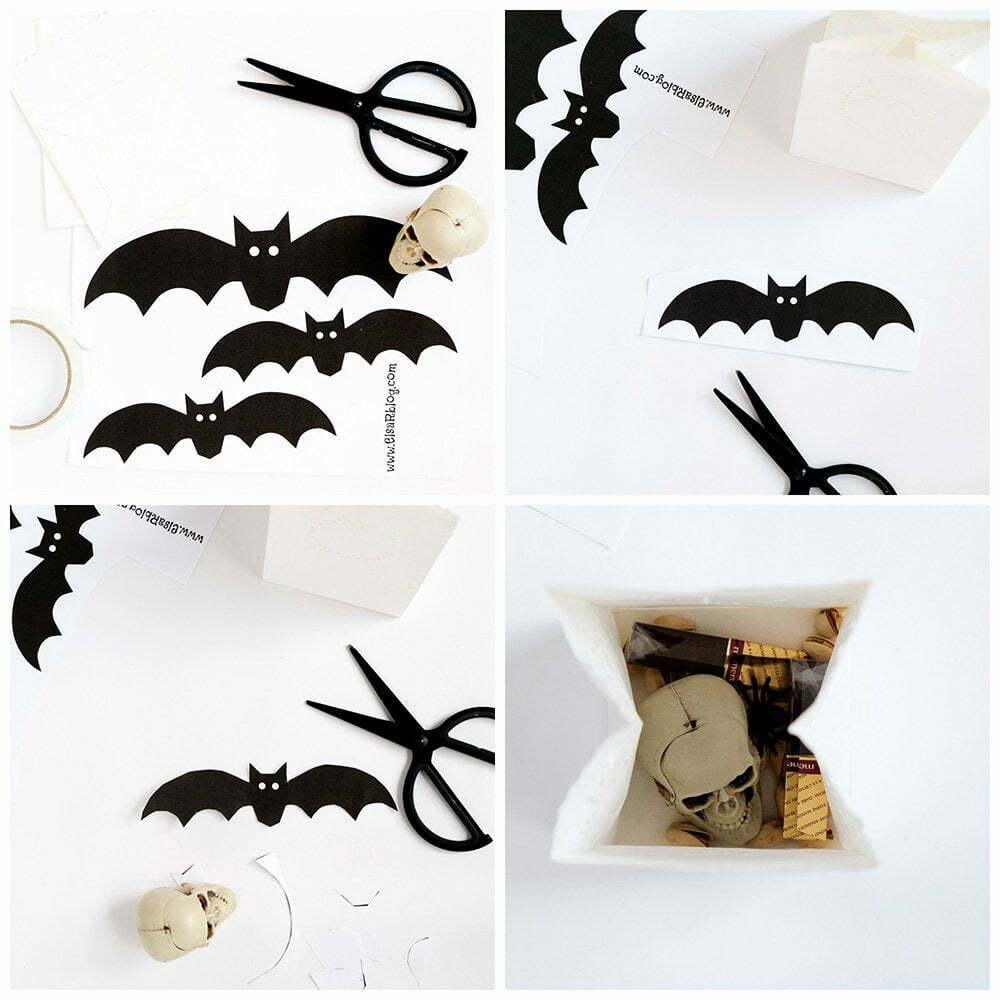 stap voor stap foto's, Snoepzak versieren voor Halloween