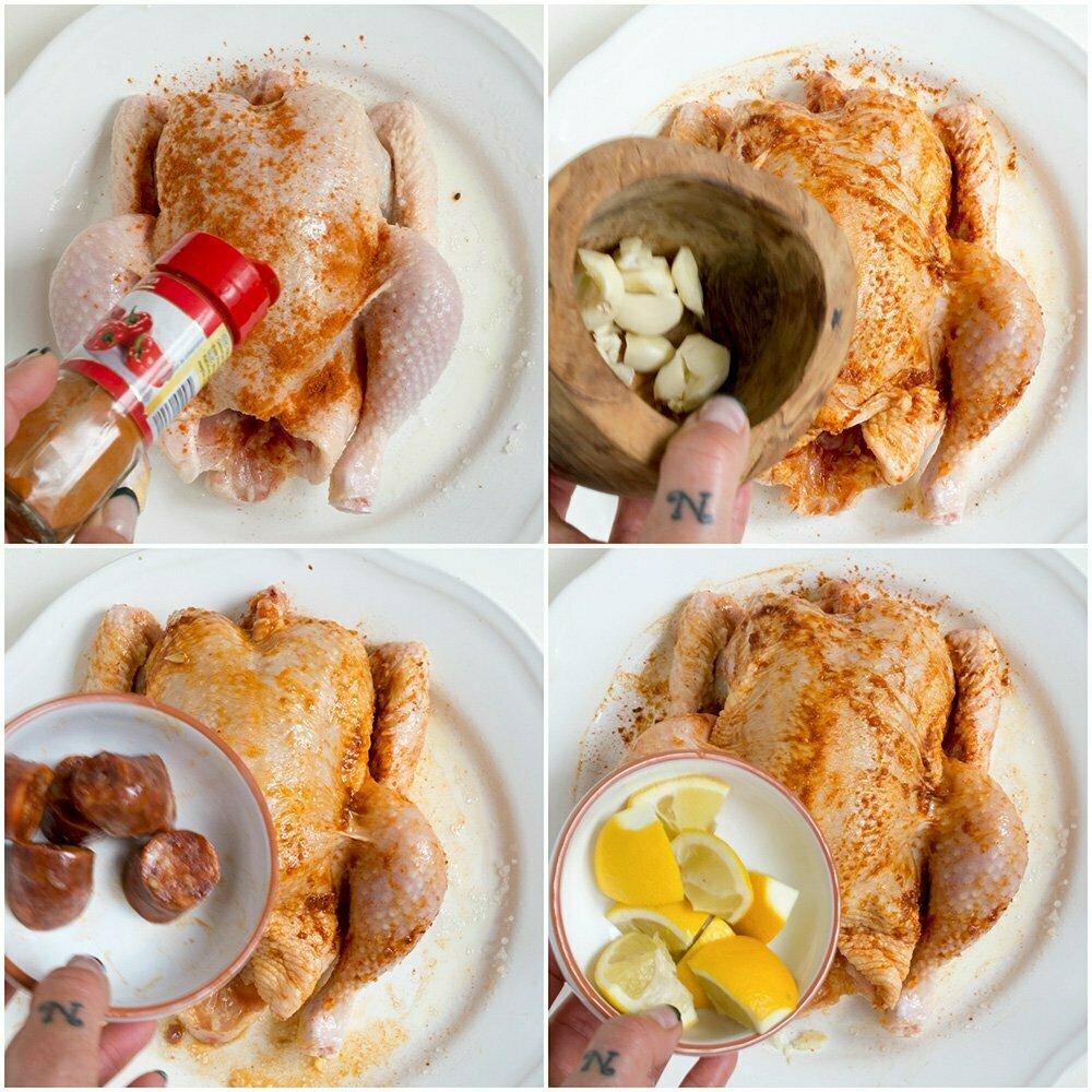 stap voor stap foto's, Hoe bak je een kip in de oven - Ovenschotel