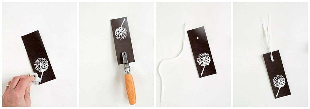 stap voor stap foto's: Hoe maak je boekenleggers met stempels, embossing