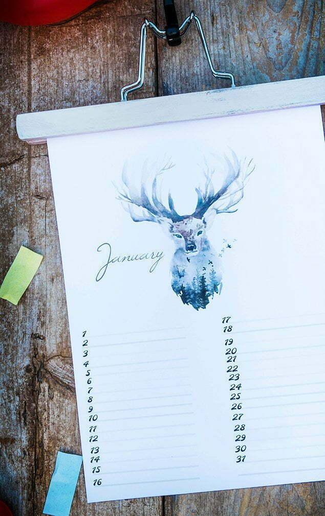 Free Birthday Calendar (verjaardagskalender) – nr. 1 January