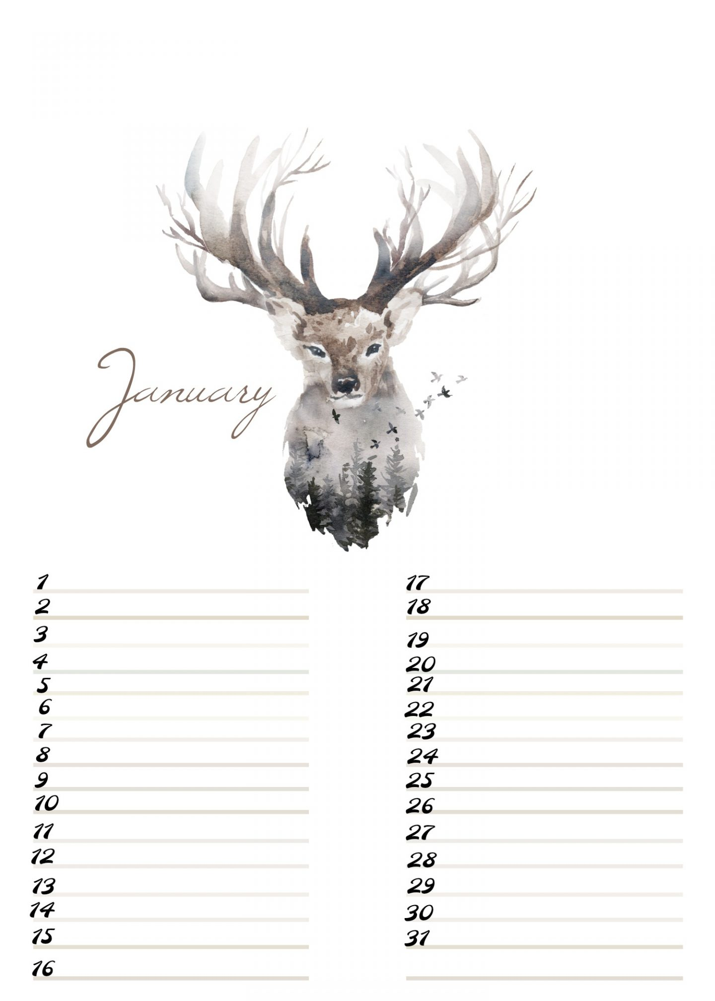 A4 Free Birthday Calendar January ElsaRblog