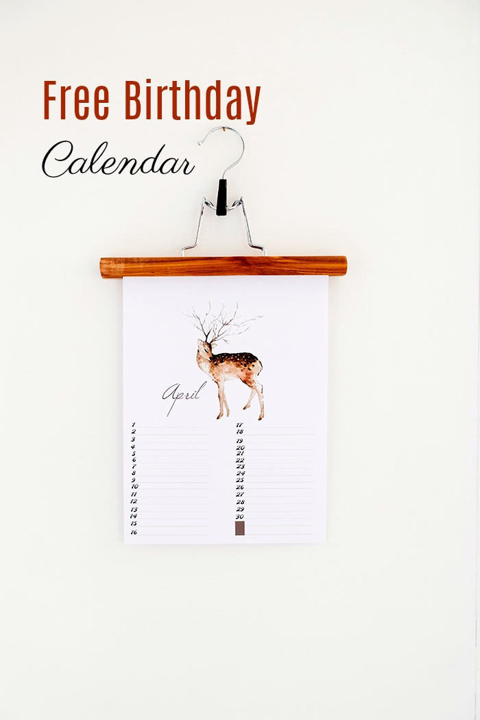 Free Birthday Calendar: April