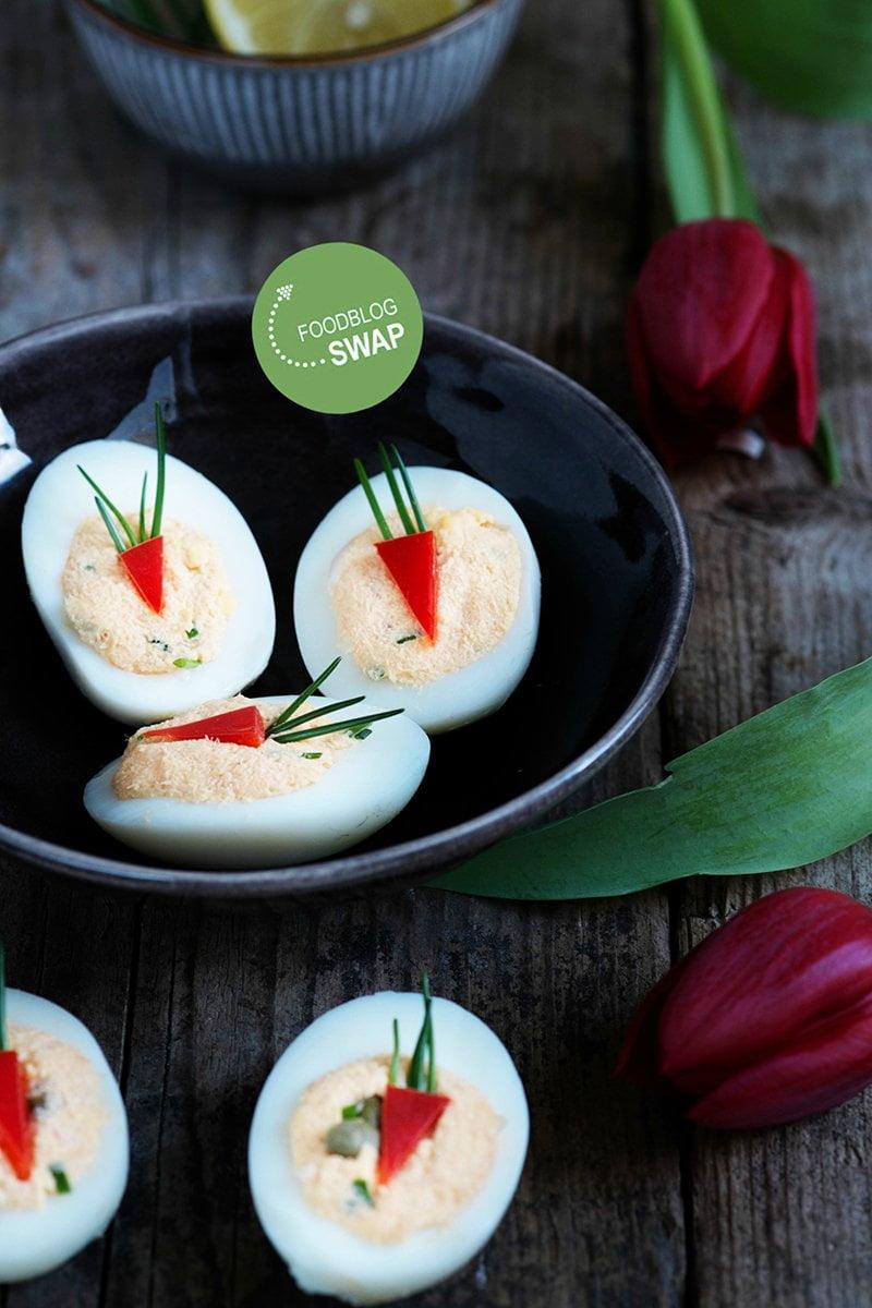 Gevulde eieren met zalmsalade à la mama - Foodblogswap