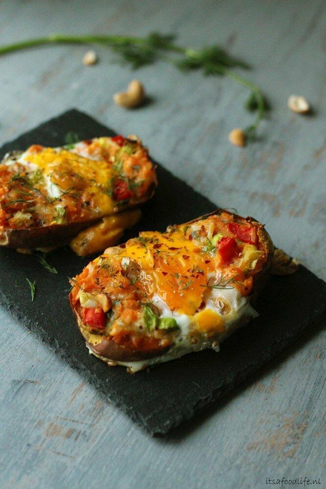 Gevulde zoete aardappel uit de oven: it's a food life.nl