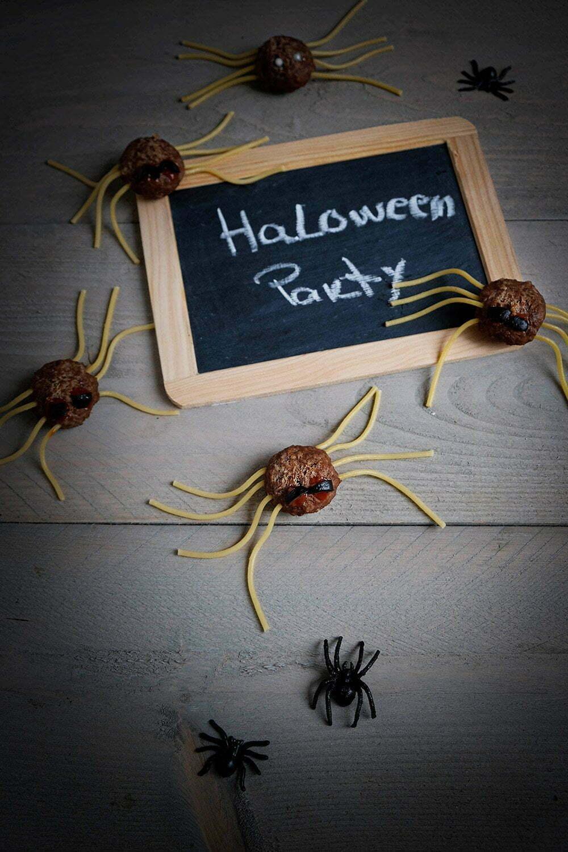 Halloween gehaktbal spinnen traktatie
