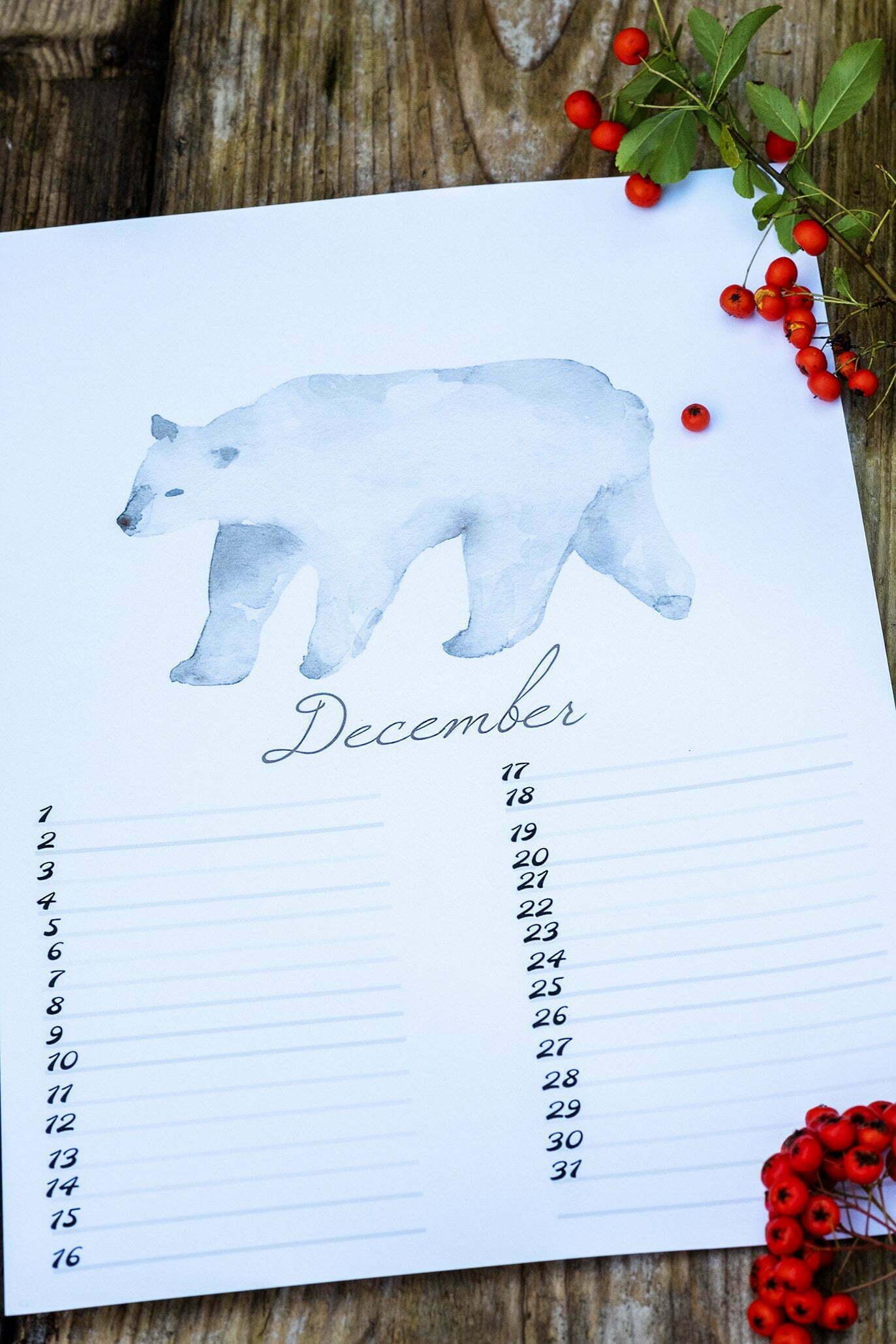 Free Birthday Calendar (verjaardagskalender) – nr. 12 December