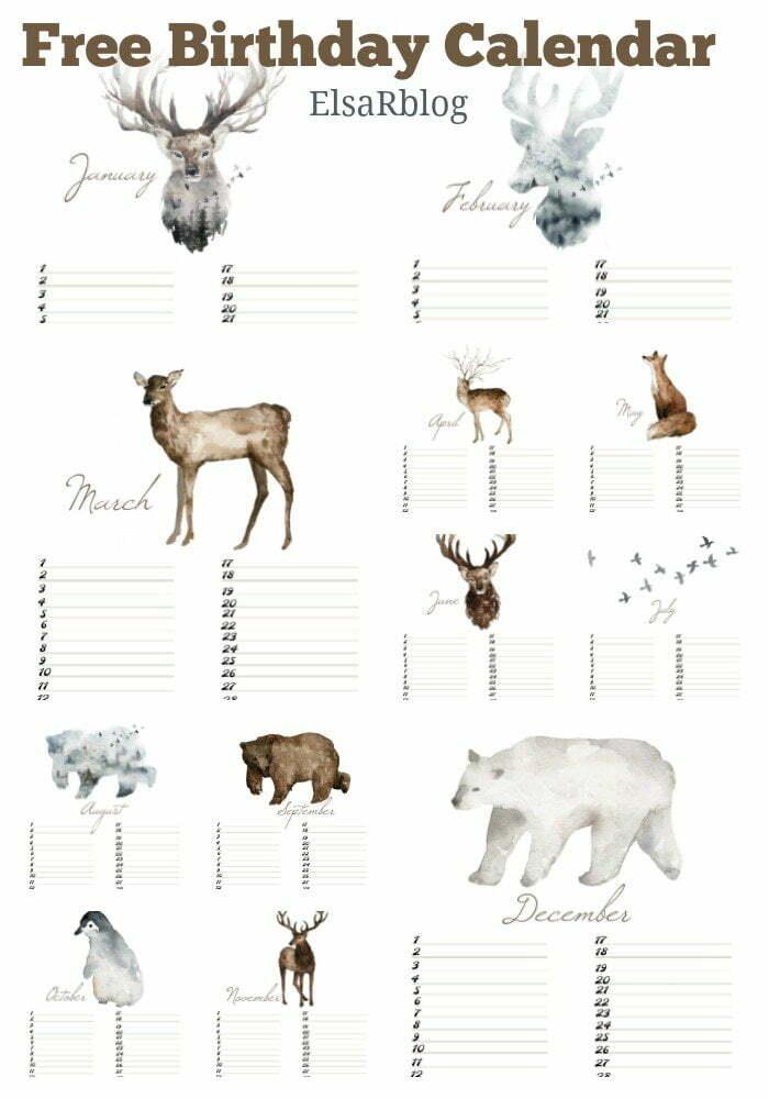 Free Birthday Calendar (verjaardagskalender) - Free printables