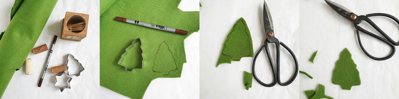 Kerstboompjes en sterren als naamkaart of tafeldecoratie - Diy