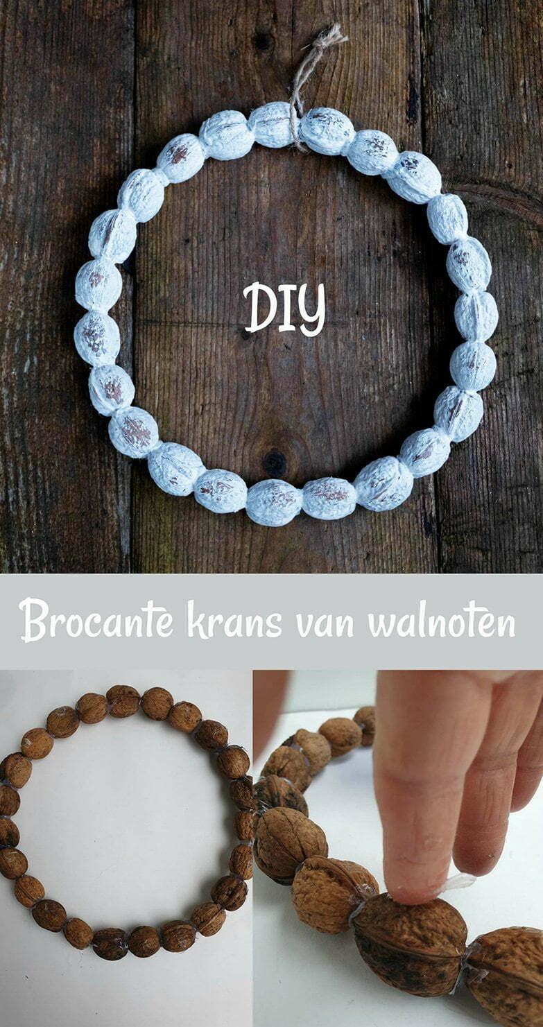 Diy Brocante krans van walnoten