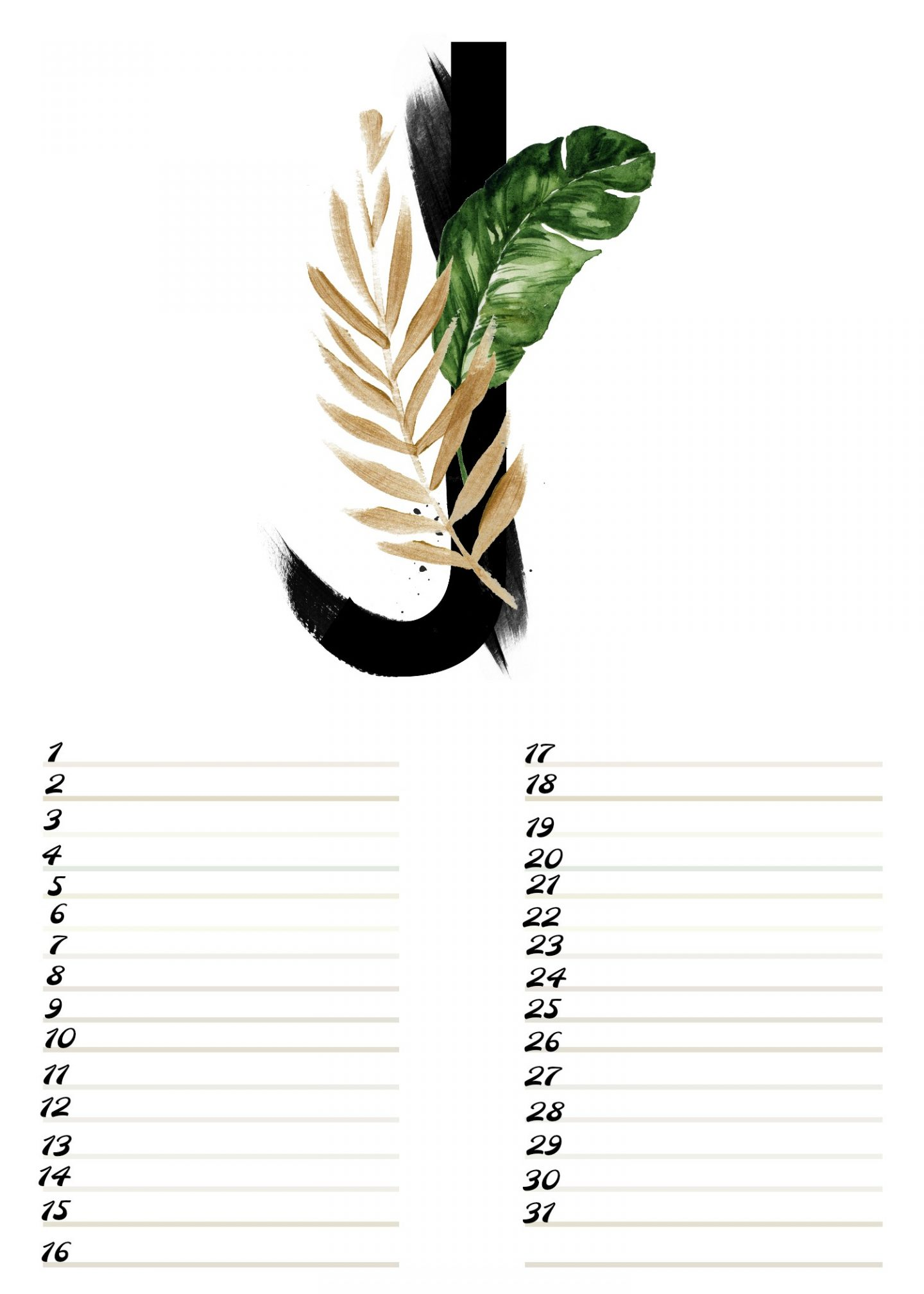 Gratis verjaardagskalender alfabet van Januari - Nr.1