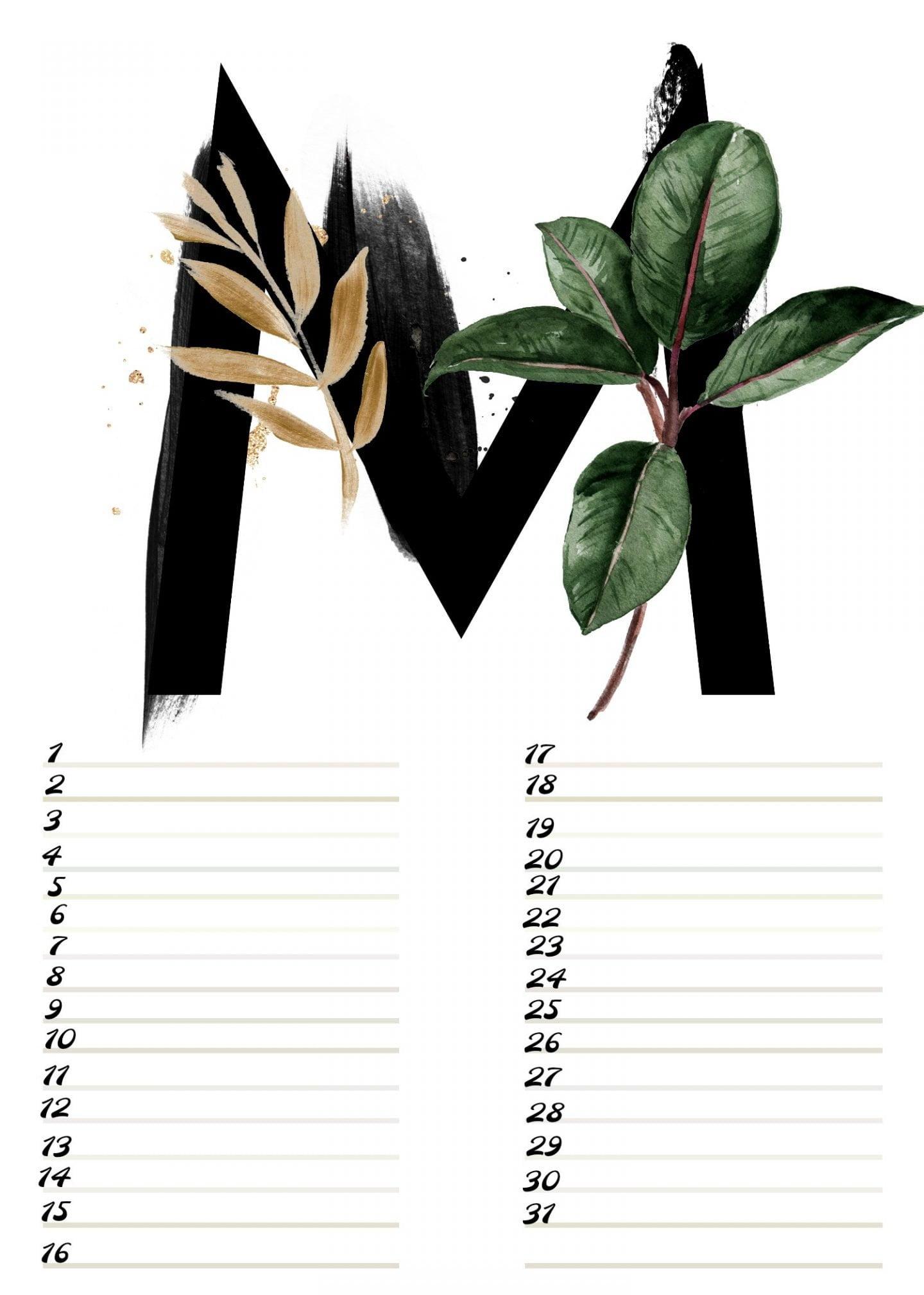 A4 Gratis verjaardagskalender alfabet Maart ElsaRblog