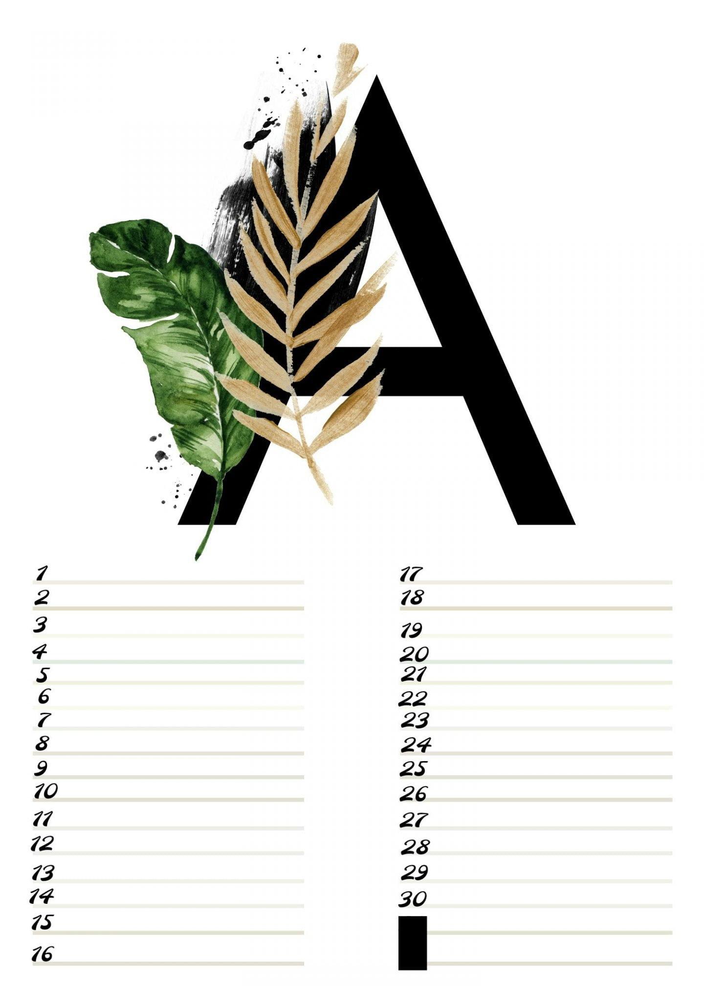A4 Gratis verjaardagskalender alfabet April ElsaRblog
