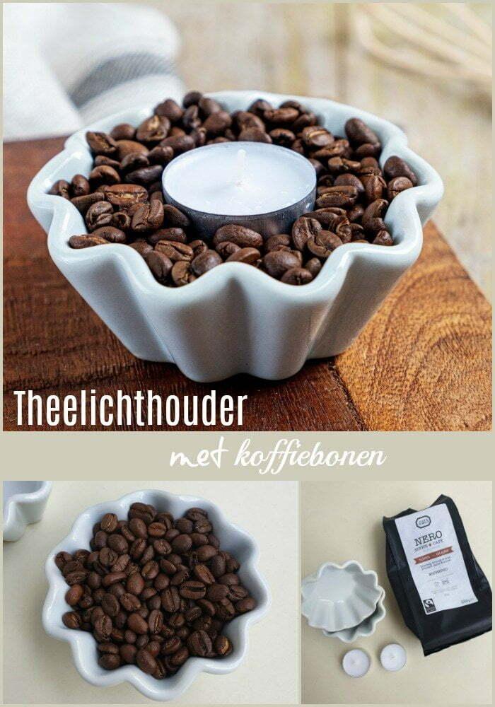 Theelichthouder decoratie met koffiebonen