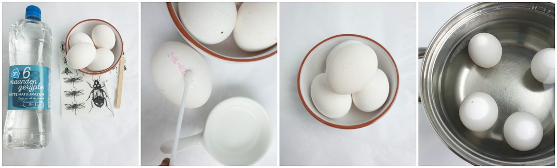Eieren decoreren met stickers