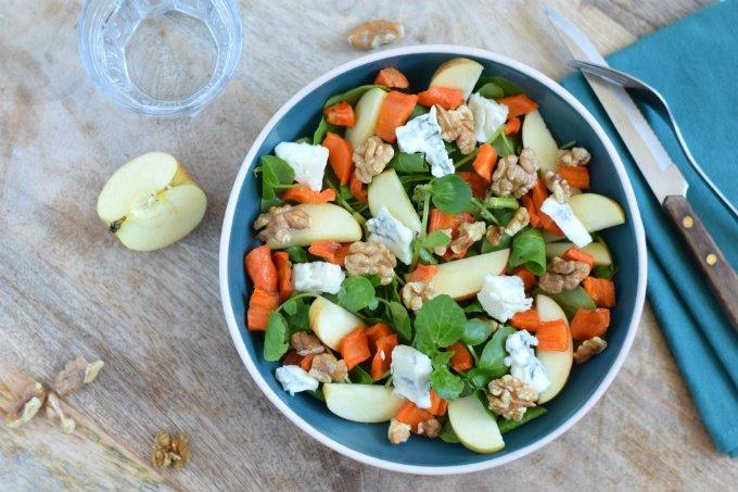 Anniepannie: Salade appel gorgonzola en geroosterde wortel