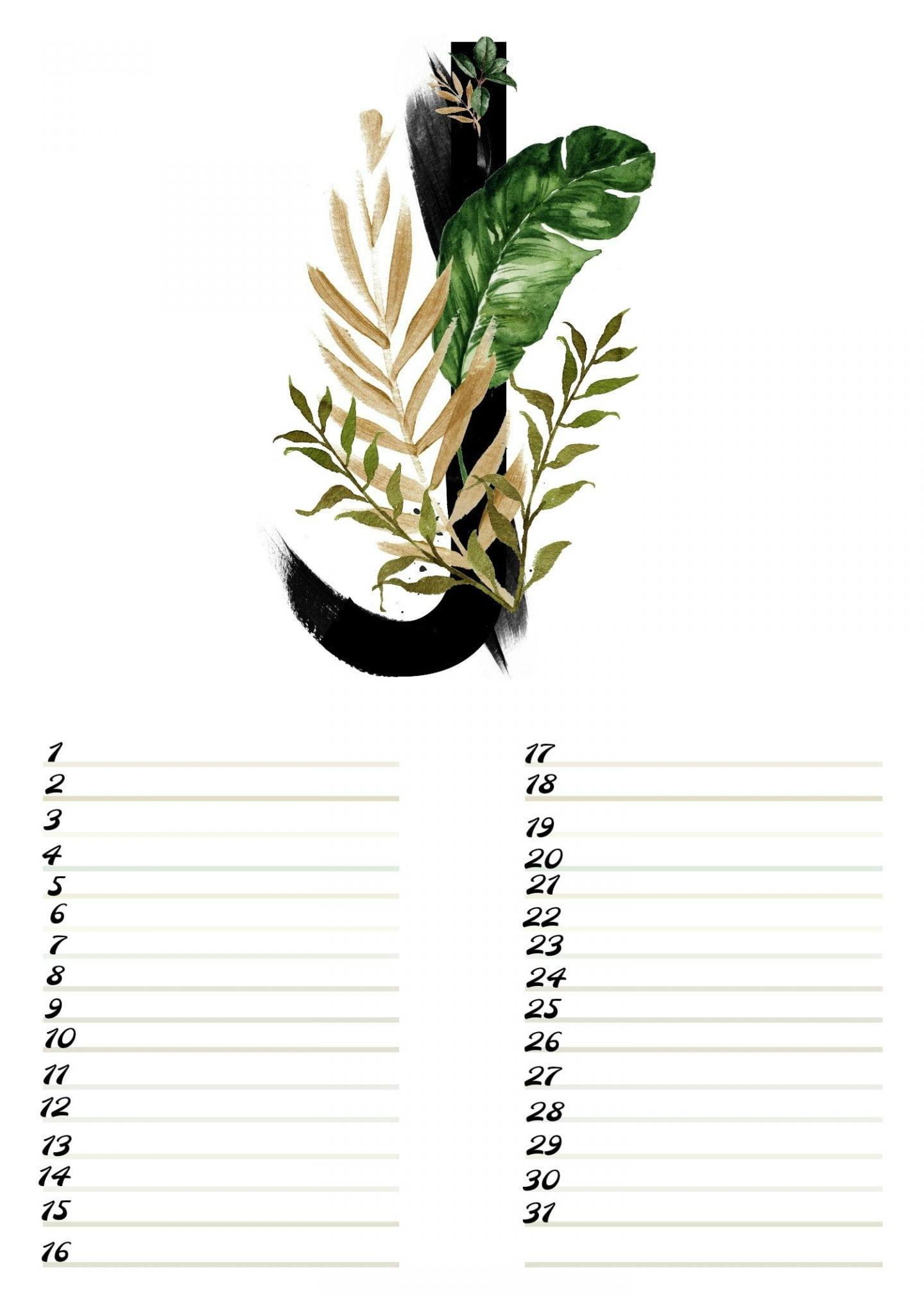 Gratis verjaardagskalender alfabet van Juli-nr.7