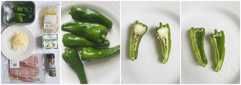 Snij de jalapeno's door de helft en verwijder de zaadlijsten.