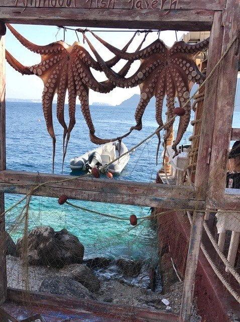 Amoudi: De octopussen hangen zelfs nog voor de restaurantjes te drogen.