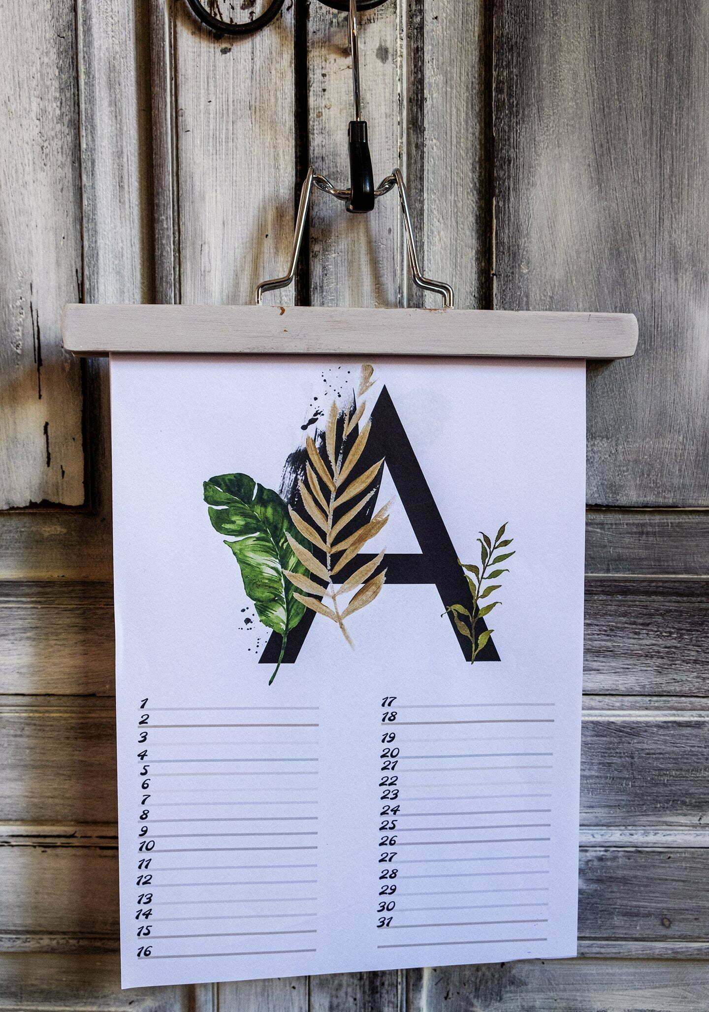 Gratis verjaardagskalender alfabet van Augustus-nr.8