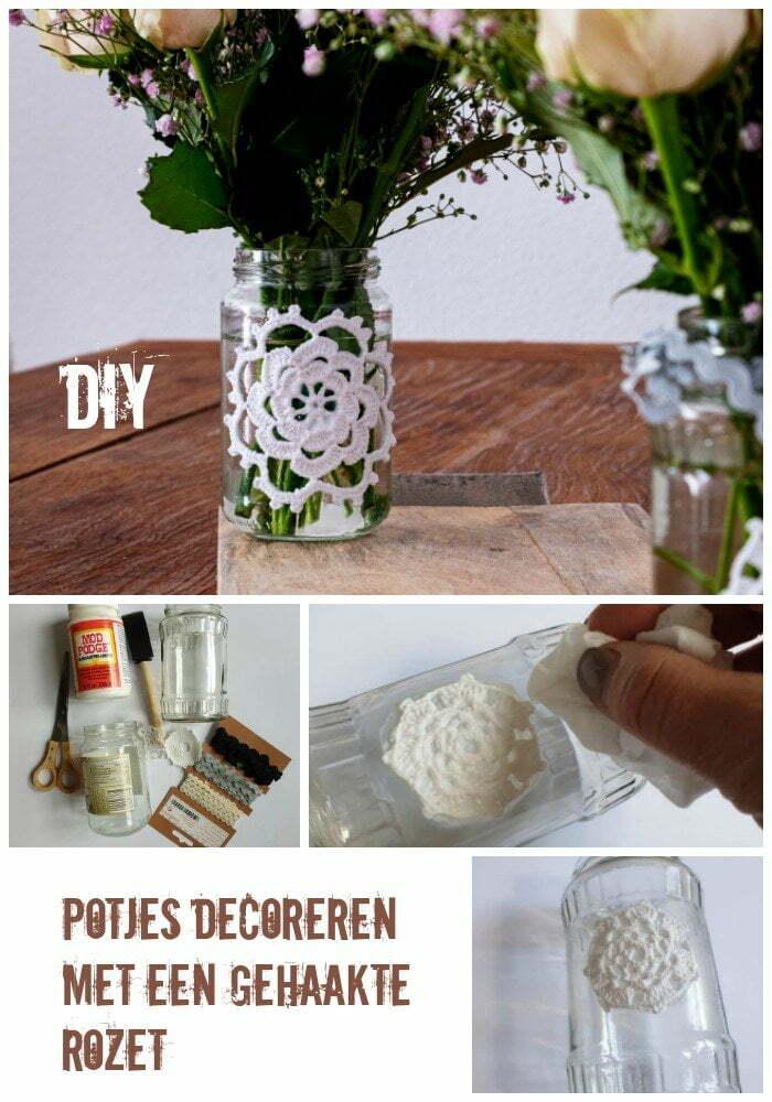 Pin: Potjes decoreren met een gehaakte rozet - Diy