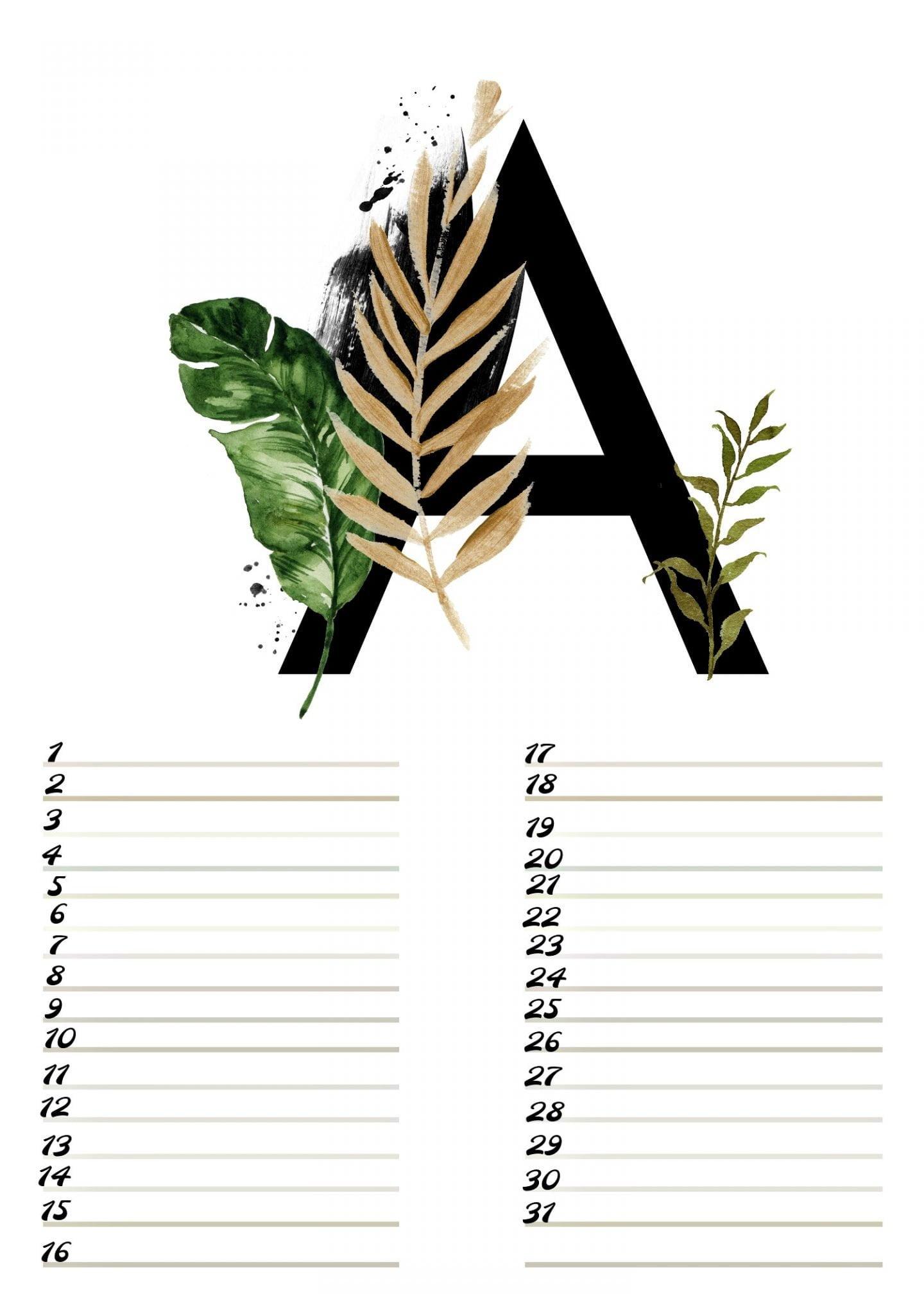 A4 Gratis verjaardagskalender alfabet Augustus ElsaRblog